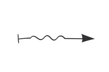 Hand Drawn Arrow In Doodle Style. Cute Direction Indicator. Isolated Object On A White Background.