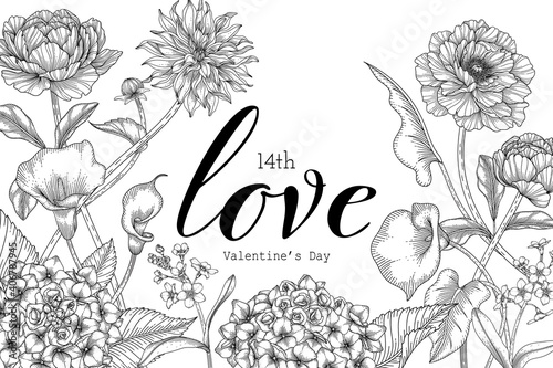 Fotografia Hand drawn floral valentine's day background.