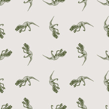 Seamless Pattern From Sketches Of Ancient Extinct Prehistoric Raptor