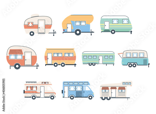 Obraz Camper trailers and vans icon group vector design - fototapety do salonu