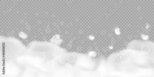Fotografiet Bath foam with bubbles isolated on transparent background