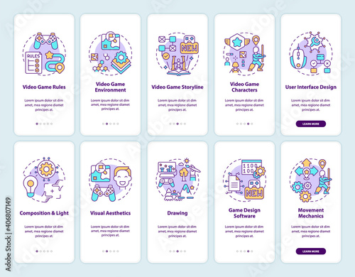 Video game design onboarding mobile app page screen with concepts set. Video game environment walkthrough 10 steps graphic instructions. UI vector template with RGB color illustrations