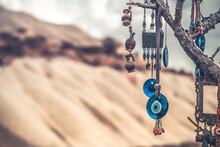 Amulets Against Evil Eye Hanging On Tree