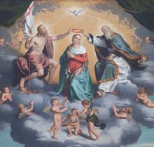 BERGAMO, ITALY - JANUARY 29, 2013:  Detail Of Painting Incoronazione Della Vergine - Coronation Of Hl. Mary By Giovani Battista Moroni (1520 - 1578) In Church San Alessandro Della Croce.