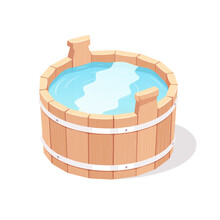 Wooden Bucket Filled With Water. Vector Illustration.