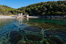 Shipwreck Abandoned At A Beach Of Skyros Island In Greece