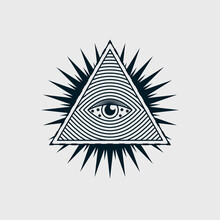 Eye In The Triangle, Pyramid Vector Icon. The Sign Of The Third All-seeing Eye. Esoteric Symbol Of Intuition. Human Design, Yoga, Hindu. Conspiracy Theory Of Masons Illustration