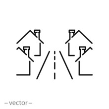 Neighbourhood Townhouse Icon, New Modern Street With Home Neighbourhood, Residential Suburban Complex, Thin Line Symbol On White Background - Editable Stroke Vector Illustration Eps10