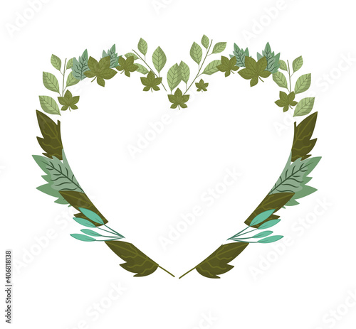 leaves foliage nature, frame shaped heart decoration Wall mural