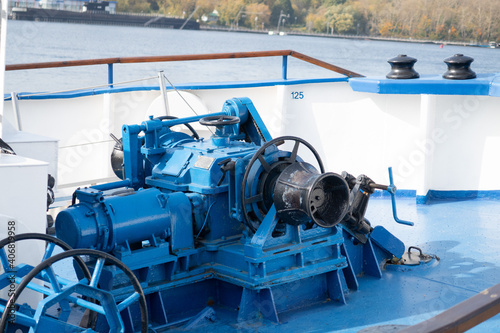 Photo Winch on the deck of a river ship painted blue, North port, 2020, background