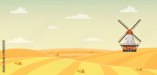 Obraz na plátně Autumn wheat field with haystacks and windmill flat vector illustration