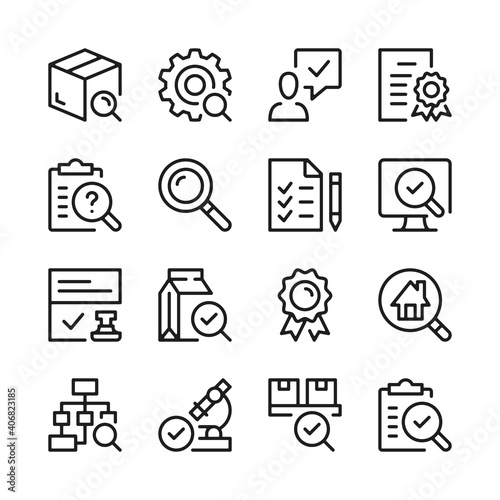 Stampa su Tela Quality control and inspection line icons set