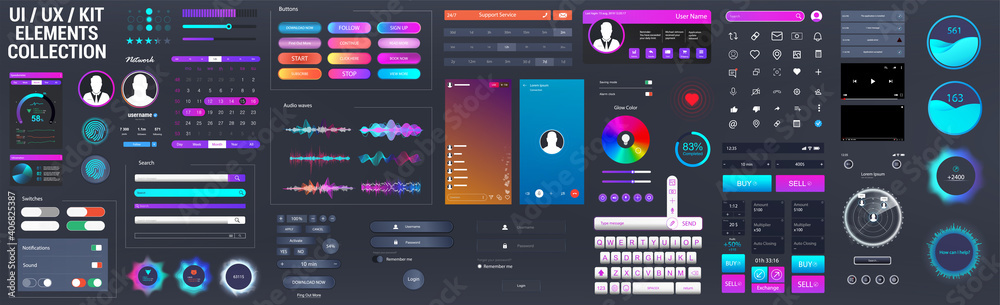 Fototapeta Neon UI / UX / KIT elements big set. Universal interface elements for Mobile App or Web design template - buttons, switches, bars, search, screens display, calendar, video players. Vector UI UX set