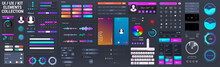 Neon UI / UX / KIT Elements Big Set. Universal Interface Elements For Mobile App Or Web Design Template - Buttons, Switches, Bars, Search, Screens Display, Calendar, Video Players. Vector UI UX Set