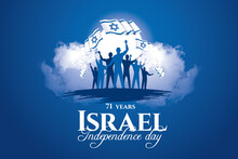 Israel Memorial Day Holidays. Vector Memorial Day Israel. Translation From Hebrew: Yom HaZikaron - Israel's Memorial Day. Graphic Design Vector Illustration