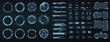 Circle Abstract digital technology UI, UX Futuristic HUD, FUI, Virtual Interface. Callouts titles and frame in Sci- Fi style. Bar labels, info call box bars. UI, UX, KIT game design elements. Vector