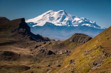 Spring Landscape In The  Elbrus Mount Region View From Bermamyt Plateau.