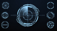 Modern Aiming System Ui, Ux. Futuristic Optical Aim. Military Collimator Sight, Gun Targets Focus Range Indication. Gaming And Hi-tech. Sci-fi Futuristic Spaceship Crosshair. Vector Illustration