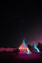 Teepee Under Night Sky Full Of Stars In Marfa.