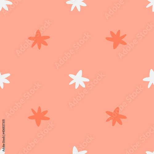 Canvastavla Cute seamless pattern with cartoon pink stars on light background