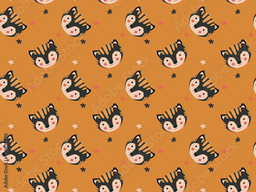 Cute stylish seamless pattern of black tiger cubs heads and abstract stars on an ocher background. The faces of kittens in the Scandinavian style. For printing on children's clothing. Vector.