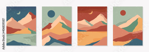 Canvas Print Set of creative abstract mountain landscape and mountain range backgrounds