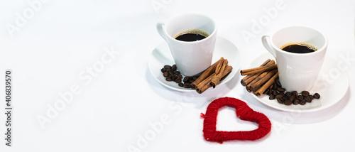 Fototapeta Walentynki miłosne spotkanie przy kawie obraz