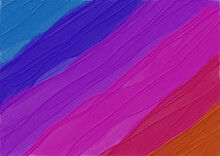 Cool To Warm Painted Texture Background. Beautiful, Airy Brushstroke Texture On This Fine Art Background. Soothing Light Blue, Blue, Orange, Purple And Pink Abstract Image.