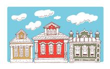 Wooden Russian Houses. Vector Hand Drawn Illustration Of Traditional Architecture Of Old Russia For Banner, Greeting Card, Travel Guide, Map.