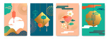 Chinese Lantern Abstract Gold Pastel Poster Set