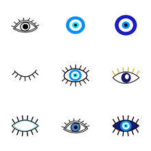 Evil Eye Protection Talisman. Collection Of Of Turkish Blue Eye-shaped Amulets, Nazar Talismans In Hand Drawn Style. Vector Illustration Of Eyes With Lashes, Magical Decor Elements