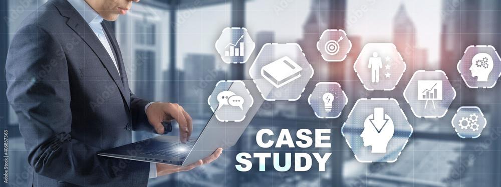 Fototapeta Businessman pressing case study button on virtual screens.