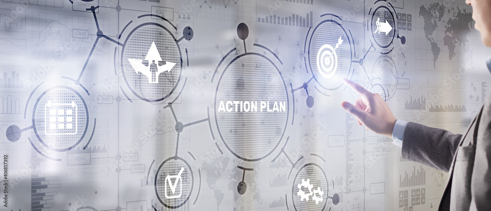 Fototapeta Business Action Plan strategy concept on virtual screen. Time management.