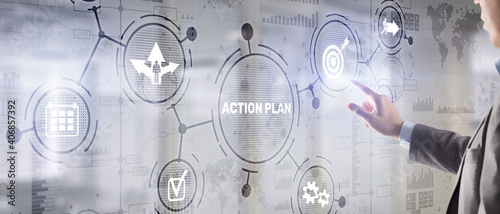 Fotografia, Obraz Business Action Plan strategy concept on virtual screen