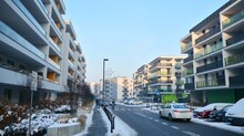 A Modern Residential Area On A Frosty Winter Morning.
