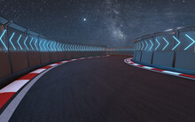View Of The Infinity Empty Asphalt International Race Track, 3d Rendering.