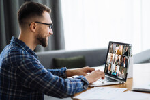 Video Call, Online Business Meeting, Online Education. Successful Caucasian Freelancer Or Student Communicate With Business Colleagues Or Studying Online Via Video Conference