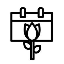 Spring Calendar Line Icon Logo Illustration Vector Isolated Design. Spring Season Icon Theme. Suitable For Web Design, Logo, App, And UI.