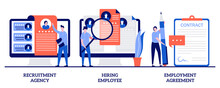 Recruitment Agency, Hiring Employee, Employment Agreement With Tiny People. Head Hunting Abstract Vector Illustration Set. Job Listing, Resume, Vacant Job Position, Contract Form, Interview Metaphor