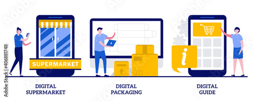 Fototapeta Digital supermarket, packaging and guide concept with tiny people