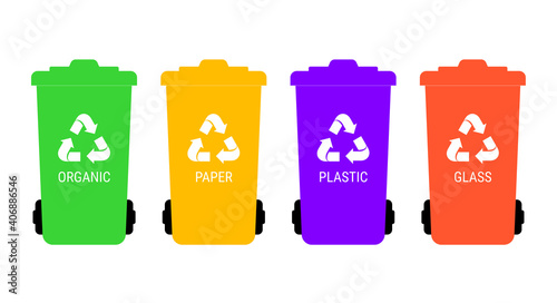 Fototapety, obrazy: Separate garbage collection. Multicolored trash cans with corresponding labels. Vector illustration.