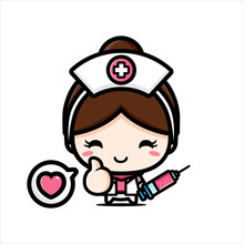 Cute Nurse Character Design Holding Injection