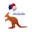 happy australia day lettering with kangaroo and balloons helium decoration