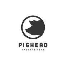 Pork Head Circle Silhouette, Meat Pig Restaurant And Farm Logo Design Vector Icon
