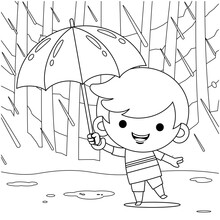 Illustration Vector Graphic Of Coloring Book For Kids. Cute Little Boy Hiding Under Umbrella During The Rain Weather. Good To Use For Children Coloring Book.