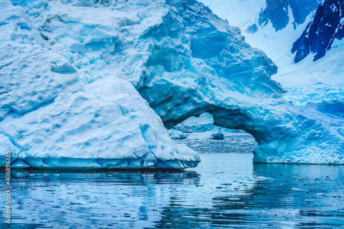 Canvas Print Blue Iceberg Arch Reflection Paradise Bay Skintorp Cove Antarctica