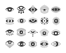 Black Flat Style Icon Set Of Evil Seeing Eye. Mystic Esoteric Signs