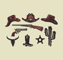Wild West Cowboy Objects, Hand Drawn Line Style With Digital Color, Vector Illustration