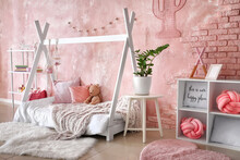 Interior Of Modern Children's Room With Stylish Bed