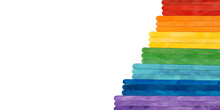 Rainbow Color Wooden Sticks On White. Colorful Abstract Stairs